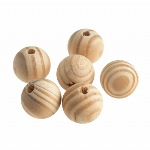 Wooden Craft Beads 30mm 6 Pieces